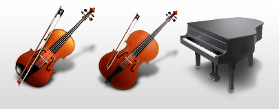 icons, dock icons, mac os x icons, violin, cello, piano, sheet music, tuning fork, metronome