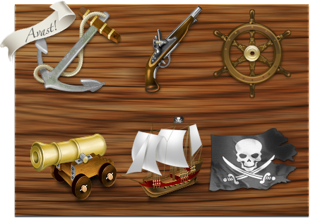 Pirates Icon Set - mac, os x, dock, icons, pirates, anchor, flintlock pistol, ship's wheel, canon, pirate ship, jolly roger