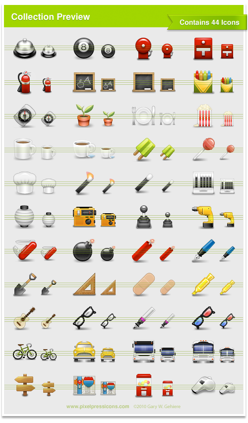 Bell, Service Bell, Eight Ball, Alarm, Fire Extinguisher, Chalkboard, Crayon, Compass, Plant, Sprout, Plate, Fork, Popcorn, Coffee, Tea, Popsicle, Lollipo, Chef Hat, Match, Matches, Lantern, Paper Lantern, Radio, Gear Shift, Drill, Tool, Swiss Army Knife, Bomb, Dynamite, TNT, Pen, Shovel, Triangle, Bandaid, Highlighter, Guitar, Glasses, Pen, #D Glasses, Bicycle, Taxi, Bus, Sign Post, Directins, Map, Candy Dispenser, Whistle